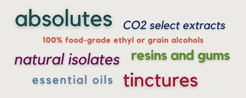 colorful word cloud cluster: absolutes, CO2 select extracts, 100% food-grade ethyl or grain alcohols, natural isolates, resins and gums, essential oils, tinctures