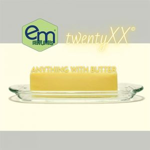 emPERFUMES and twentyXX logos on top edge of photo of a stick of butter on a glass butter dish. Perfume name ANYTHING WITH BUTTER.