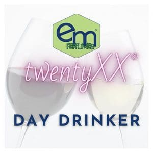 emPERFUMES and twentyXX logos on top of two glasses of wine, one white, one red, clinking together. Name of perfume DAY DRINKER.