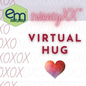 emPERFUMES and twentyXX logos over a gray and white background of x's and o's. Perfume name VIRTUAL HUG.