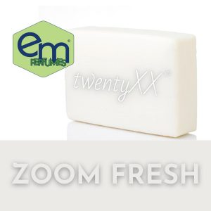 emPERFUMES logo, bar of soap with twentyXX logo on it and over the top of a grayish rectangle on the bottome the words ZOOM FRESH
